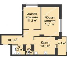 2 комнатная квартира 54,4 м² в ЖК Аквамарин, дом №2 - планировка