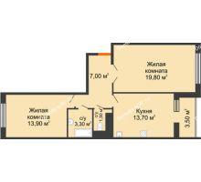 3 комнатная квартира 81,2 м², ЖК LIME (ЛАЙМ) - планировка