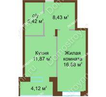 1 комнатная квартира 46,72 м² в ЖК Солнечный город, дом на участке № 208 - планировка