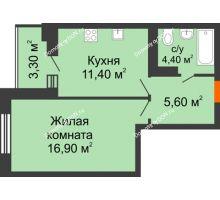 1 комнатная квартира 38,1 м² в ЖК Вересаево, дом Литер 5/1