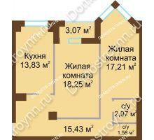 2 комнатная квартира 70,2 м² - ЖК Грани