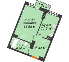 1 комнатная квартира 33,21 м² в ЖК Мечников, дом ул. Мечникова, 37 - планировка