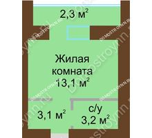 Студия 24 м² в ЖК Рубин, дом № 67 - планировка