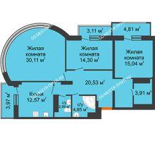 3 комнатная квартира 109,64 м², ЖК Командор - планировка