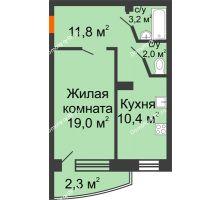 1 комнатная квартира 48,7 м² в ЖКСпутник, дом Позиция 9 - планировка