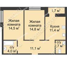 2 комнатная квартира 60,2 м² - ЖК Дом на Иванова
