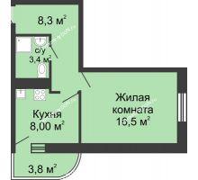 1 комнатная квартира 37,8 м² в ЖК Звезда Столицы, дом Литер 1 - планировка