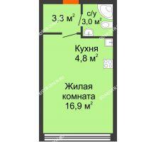 Студия 28 м² в ЖК Новая Кузнечиха, дом № 29 - планировка