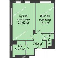 1 комнатная квартира 56,55 м² в ЖК TRINITY (Тринити), дом № 1 - планировка