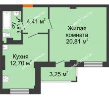 1 комнатная квартира 43,36 м² - ЖК Семейный