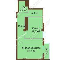 1 комнатная квартира 62,5 м², ЖК Бояр Палас - планировка