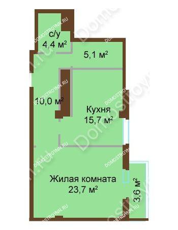 1 комнатная квартира 62,5 м² - ЖК Бояр Палас