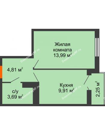 1 комнатная квартира 33,56 м² в ЖК Семейный парк, дом Литер 2