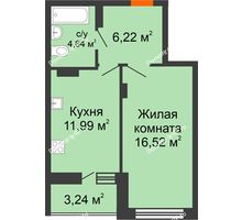 1 комнатная квартира 42,61 м², ЖК Галактика - планировка