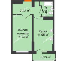 1 комнатная квартира 38,35 м², ЖК Орбита - планировка