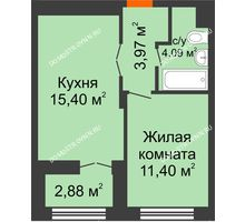 1 комнатная квартира 36,3 м², ЖК КМ Молодежный, 76 - планировка