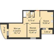 2 комнатная квартира 69,3 м² в ЖК Вересаево, дом Литер 7/2 - планировка