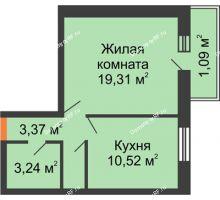 1 комнатная квартира 39,07 м², ЖК Парк Металлургов - планировка