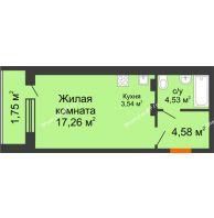 Студия 31,66 м² в ЖК Суворов-Сити, дом 1 очередь секция 6-13 - планировка