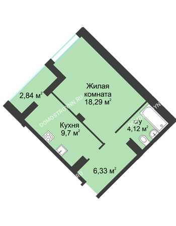 1 комнатная квартира 41,4 м² в ЖК На Вятской, дом № 3 (по генплану)