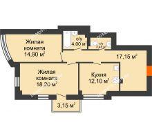 2 комнатная квартира 69,75 м², ЖК Сергиевская Слобода - планировка