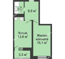 1 комнатная квартира 41,1 м² в ЖК Звезда Столицы, дом Литер 3 - планировка