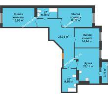 3 комнатная квартира 119,8 м² в ЖК 120 квартал, дом 2 очередь - планировка