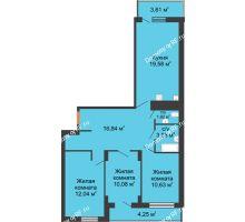 3 комнатная квартира 89,4 м² в ЖК Карамель, дом № 1 - планировка