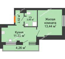 1 комнатная квартира 37,11 м², ЖК Марксистский - планировка