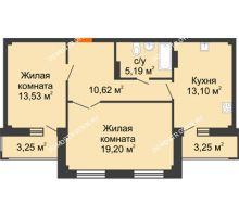 2 комнатная квартира 64,89 м² - ЖК Семейный