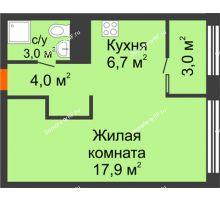 Студия 33 м² в Квартал Новин, дом 6 очередь ГП-6 - планировка
