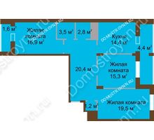 3 комнатная квартира 99,9 м² в ЖК Монолит, дом № 89, корп. 1, 2 - планировка