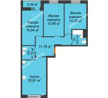 3 комнатная квартира 88,35 м², ЖК На Высоте - планировка
