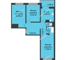 3 комнатная квартира 77,1 м² в ЖК Лазурный, дом 50 позиция (2-5 подъезд) - планировка