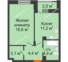 1 комнатная квартира 41,5 м² в ЖК Октава, дом №7 - планировка