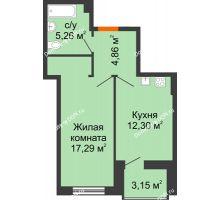 1 комнатная квартира 41,43 м² в ЖК Аврора, дом № 1 - планировка