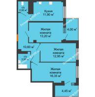 3 комнатная квартира 73,85 м² в ЖК Грин Парк, дом Литер 1 - планировка