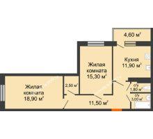 2 комнатная квартира 68,1 м² в ЖК Я, дом  Литер 2 - планировка