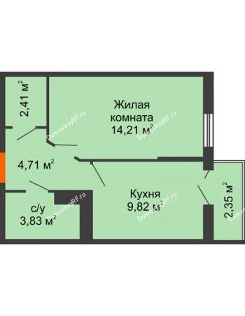 1 комнатная квартира 35,68 м² в ЖК Семейный парк, дом Литер 2
