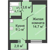 1 комнатная квартира 31,4 м² в ЖК ЮГ, дом № 20