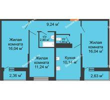 3 комнатная квартира 71,78 м² в ЖК Рекорд, дом 2 этап - планировка