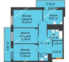 3 комнатная квартира 80,75 м² в ЖК Циолковский, дом № 3 - планировка
