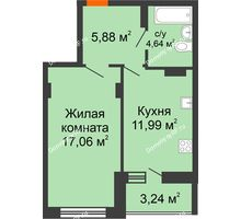 1 комнатная квартира 42,81 м², ЖК Галактика - планировка