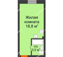 Студия 22,3 м², ЖК Красный дом - планировка