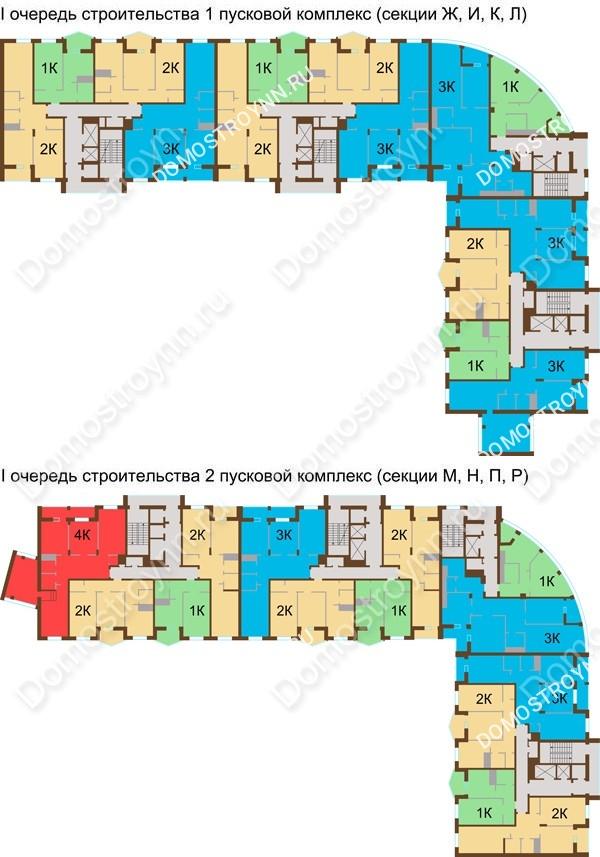 Планировка 5 этажа в доме № 89, корп. 1, 2 в ЖК Монолит