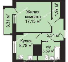 1 комнатная квартира 40,47 м² - ЖК Гелиос