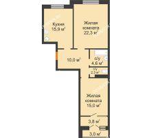 2 комнатная квартира 74,8 м² - ЖК Симфония Нижнего