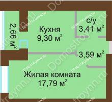 1 комнатная квартира 35,42 м² в ЖК Парк Горького, дом 62/6, № 3