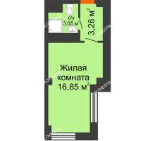 Студия 23,16 м², Апарт-Отель Гордеевка - планировка