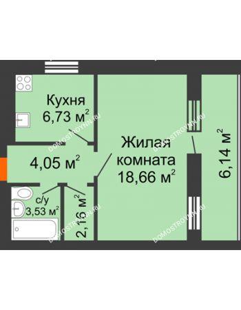 1 комнатная квартира 38,2 м² - ЖК Дом у озера